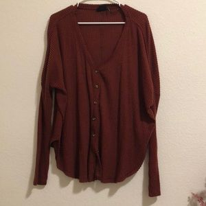 OVERSIZED THERMAL BUTTON FRONT TOP